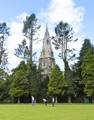 A Church Steeple and Bowling Green, Ambleside — Stock Photo