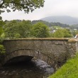 A Woman Stands by an Old Bridge in Coniston - Stock Photo
