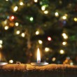 Trio of Christmas Candles in Aspen Log — Stok Fotoğraf #17202693
