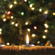 Trio of Christmas Candles in Aspen Log — Stockfoto #17202693
