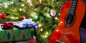A Red Classical Guitar Under the Tree — Stock Photo