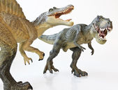 A Spinosaurus Faces Off with A Tyrannosaurus Rex — Stock Photo