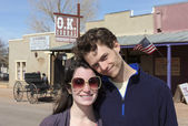 A Young Couple at the O.K. Corral, Tombstone — Stock Photo