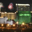 An MGM Grand Fireworks View from McCarran International Airport - Stock Photo