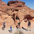 A Family at the Valley of Fire State Park — 图库照片