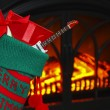A Guitar in a Stocking at Christmas — Stock Photo