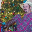A New Cowboy Hat and Boots for Christmas — Stock Photo