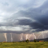 A Dance of Lightning Bolts in the Foothils — Stock Photo