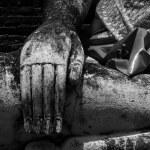 Closeup of Hand on a Buddha Statue — Stock Photo