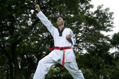 Asian man playing with taekwondo — Foto Stock