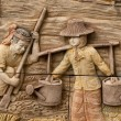 Native molding art on wall in thai style — Photo