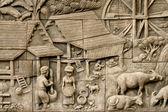 Native gießen kunst an wand im thai-stil — Stockfoto