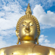 Big Golden Buddha statue in Thailand temple — Stock Photo