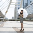 Young Thai woman with umbrella  — Stock Photo
