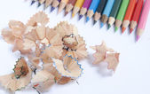 Color pencil with shavings — Stock Photo