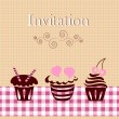 Invitation card with cakes — Stock Vector