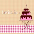Invitation card with cake — Stock Vector