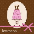 Stock Vector: Invitation card with cake