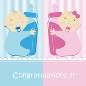 Twins Baby Boy And Girl — Stock Vector