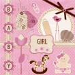 Wektor stockowy : Scrapbook Baby girl Set