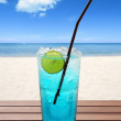 Blue soda with lime — Stock Photo