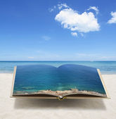 Open 3D ocean book conceptual idea — Stock Photo