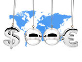 Balancing balls 3d Concep currency rates duel — Stock Photo
