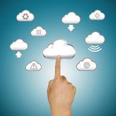 Finger pushing cloud icons — Stock Photo