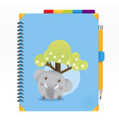 Note book blue color with pencil vector — Stock Vector