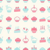 Seamless cake pattern soft vintage color style. Vector illustrat — Stock Vector