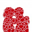 Heart love silhouette couples concept.vector - Stock Vector