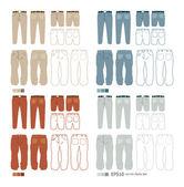 Pants fashion set vector — Stock Vector