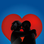 Silhouette love couples with heart vector — Stock Vector