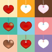 Collection heart on different color. vector illustration — Stock Vector