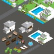 Village isometric vector - Stock Vector