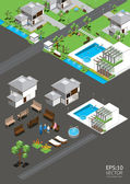 Village isometric vector — Stock Vector