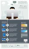 Infographic vector technology computer set — Stock Vector