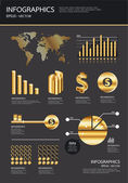 Gold infographics set and Information Graphics vector — Stock Vector