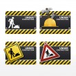 Stock Vector: Beware traffic sign under construction vector set