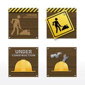 Beware traffic sign under construction vector set — Stock Vector