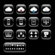 Vector button with cloud computer icon set.black color glass sty - Stock Photo