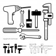 Hand tools icon set vector white background — Stock Photo