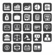 Finance and business vector icon set in black color button frame - Foto Stock