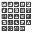 Finance and business vector icon set in black color button frame - Stock Photo