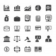 Finance and business vector icon set in black color button frame — Stock Photo #19841555