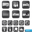 Sports icons vector on black buttons — Stock Photo