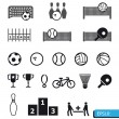 Icons sports vector on black buttons — Stock Photo #19844435