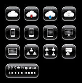 Vector button with cloud computer icon set.black color glass sty — Stockfoto