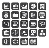 Finance and business vector icon set in black color button frame — Stok fotoğraf