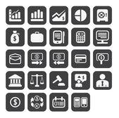 Finans- och affärsvärlden vector ikonuppsättning i svart färg knappen ram. — Stockfoto